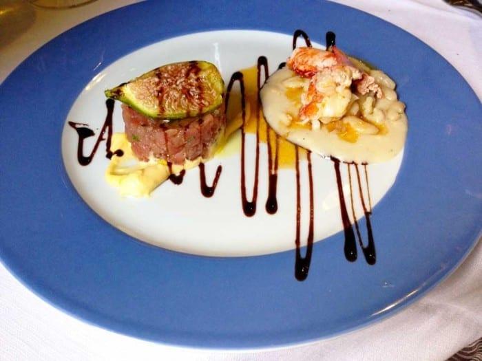 Tartar de atum e lagosta com creme de feijão na Osteria del Mare em Olbia, Sardenha, por Original Miles