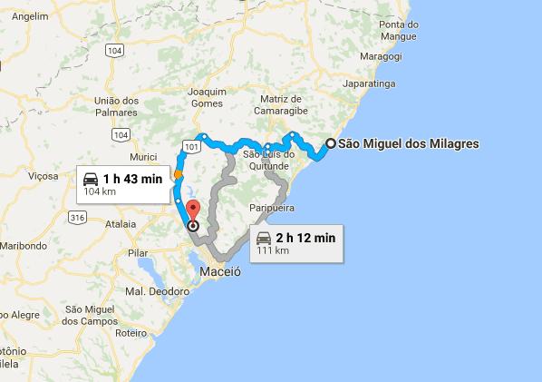 sao miguel dos milagres mapa